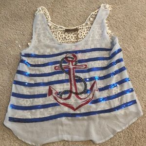 Crocheted sequin anchor tank